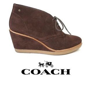 Coach Wedge Bootie Brown Suede Cassy Lace Up | 5.5